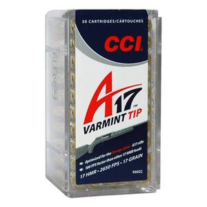 CCI A17 .17 HMR Ammunition Varmint Tip 17 Grain 2,650 Feet Per Second