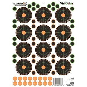 "Champion Traps & Targets VisiColor Adhesive 2"" Bullseye Target 8.5""x11.5"" Pasters 5 Pack"