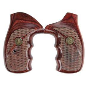 Pachmayr Renegade Deluxe Wood Laminate Revolver Grips S&W N Frame Round Butt Revolver Checkered Cut Panels Rosewood