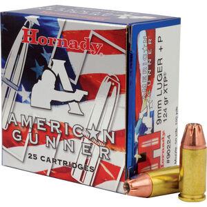 Hornady American Gunner 9mm Luger +P Ammunition 25 Rounds XTP JHP 124 Grains 90224