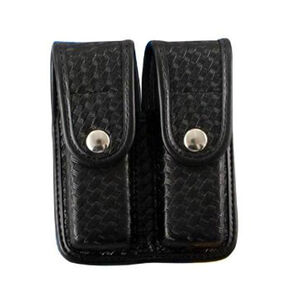 Bianchi 7902 Double Magazine Pouch Beretta Browning H&K Ruger S&W Springfield Walther Brass Snap Accumold Basket Black 25338