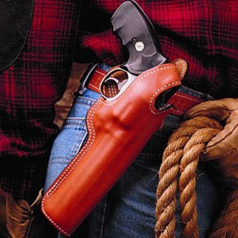 "DeSantis Dual Angle Hunter Belt Holster S&W/Colt Medium Revolvers With 6"" Barrels Right Hand Leather Tan 016TC36Z0"