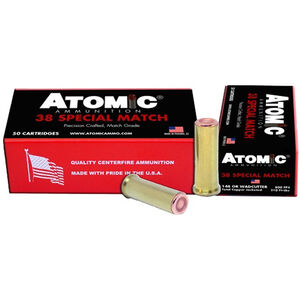 Atomic Ammunition .38 Special Match Ammunition 148 Grain Copper Plated HBWC 800fps