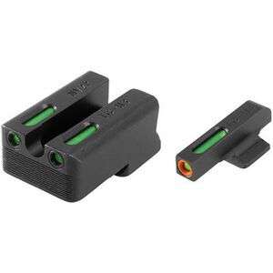 TRUGLO TFX Pro 1911 Novak LoMount cut .260/.500 Front and Rear Set Green TFO Night Sights Orange Ring Steel Black TG13NV3PC