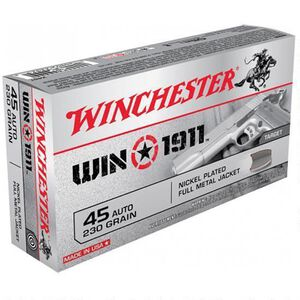 Winchester Win1911 .45 ACP Ammunition 230 Grain Nickel FMJ 880 fps
