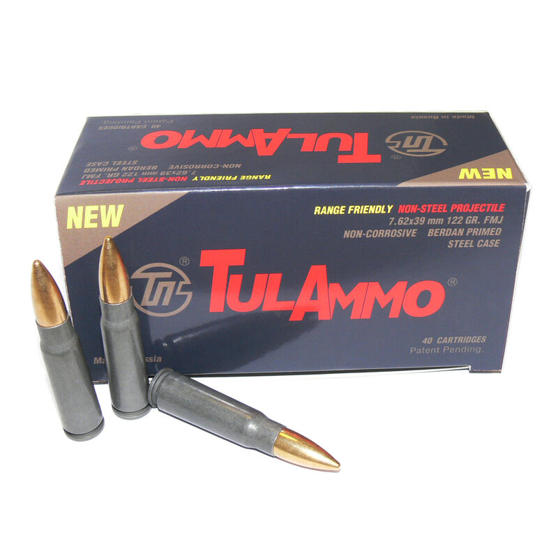 TulAmmo Range Friendly 7.62x39 Ammunition 40 Rounds 122 Grain Full Metal Jacket Brass Jacket Bullet Steel Cased 2,330fps