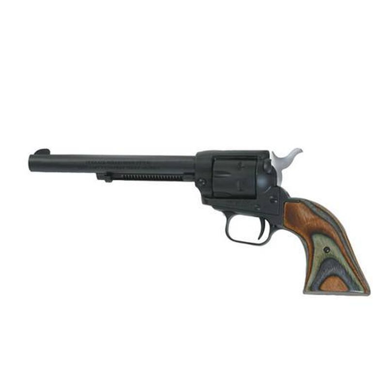 "Heritage Rough Rider Single Action Army Revolver .22 LR /.22 Magnum 6.5"" Barrel 6 Rounds Wood Grips Fixed Sights Alloy Frame Blued Finish"