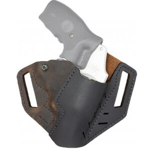 Versacarry Revolver Holster OWB fits Ruger LCR and Similar Right Hand Leather Distressed Brown and Black