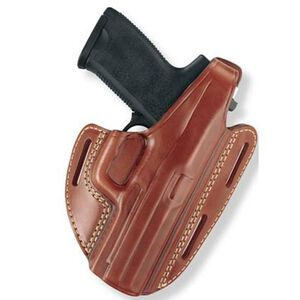 "Gould & Goodrich Gold Line 1911 5"", Browning Hi-Power Three Slot Pancake Holster Right Hand Leather Tan 803-195"