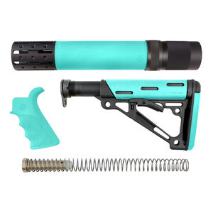 Hogue AR-15 Replacement Furniture Kit Pistol Grip/Collapsible Buttstock/Forend Mil-Spec Compatible Overmolded Rubber Black/Aqua Finish