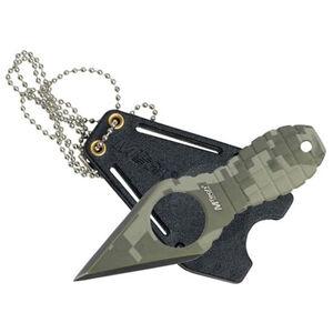 MTech Neck Knife 2.25 inch Spear Point Steel Green Digital Camo Sheath