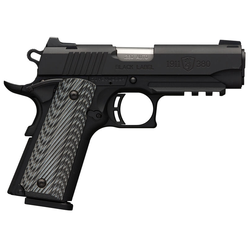 "Browning 1911-380 Black Label Pro Compact with Rail and Night Sights .380 ACP Semi Auto Handgun 8 Rounds 3.625"" Barrel G10 Grips Matte Black"