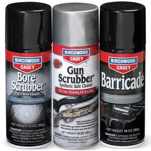Birchwood Casey 1-2-3 Aerosol Value Pak with Bore Scrubber, Gun Scrubber and Barricade 10 oz Cans 33309