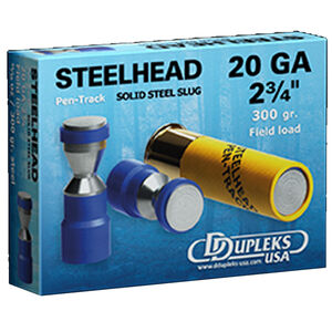 "DDupleks USA Steelhead Pen-Track 20 Gauge Ammunition 5 Rounds 2-3/4"" 11/16 oz Solid Steel Slug Lead Free 1475 fps"