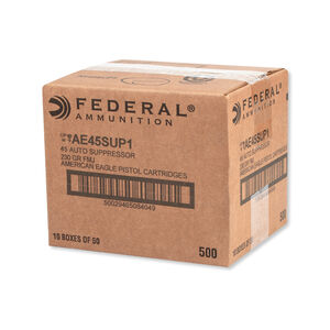 Federal American Eagle .45 ACP Subsonic Ammunition 500 Rounds 230 Grain 840 Feet Per Second Suppressor