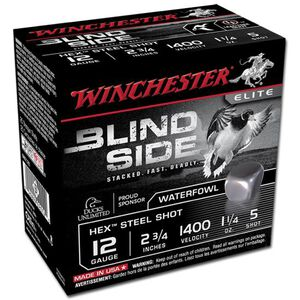 "Winchester Blind Side 12 Ga 2.75"" #5 Hex Steel 250 Rounds"