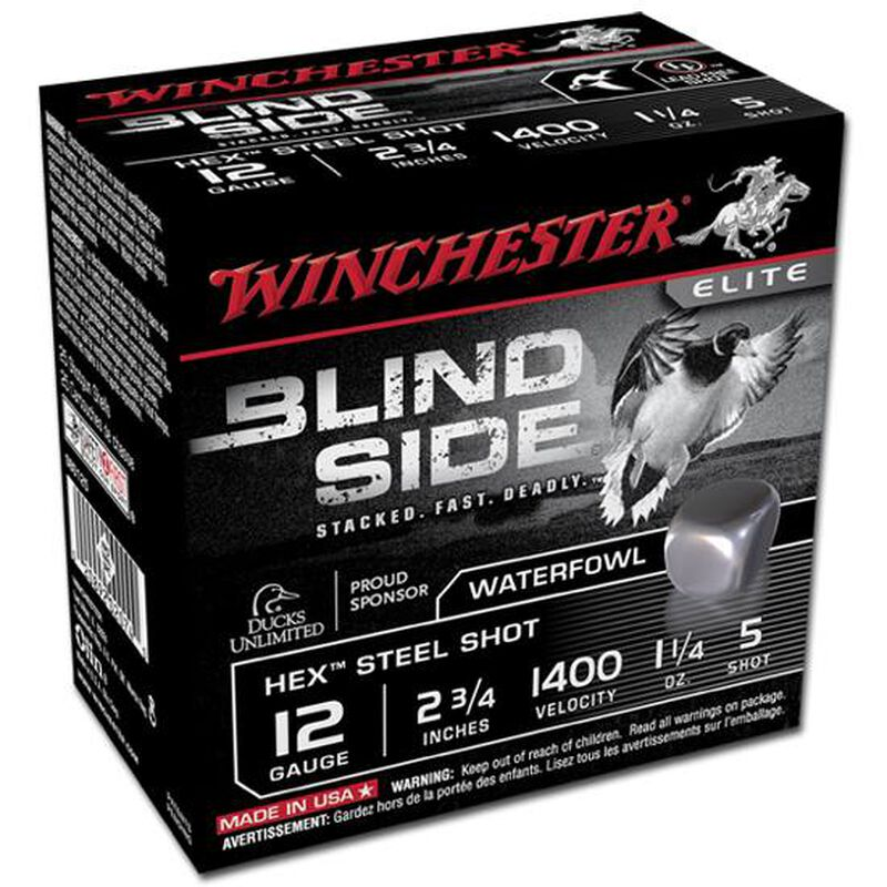 """Winchester Blind Side 12 Ga 2.75"""" #5 Hex Steel 250 Rounds"""