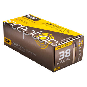 Inceptor Sport Utility Ammo .38 Special Ammunition 50 Rounds 84 Grain RNP Lead Free Injection Molded Copper-Polymer Projectile Frangible 1230fps