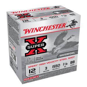 """Winchester Xpert Hi-Velocity Steel 12 Gauge Ammunition 25 Rounds 3"""" BB Steel Shot 1-1/8 Ounce 1550fps"""