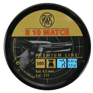 RWS R 10 Match Premium Line Air Gun Pellets .177 Caliber 7.0 Grain Flat Nose Lead Pellet 500 Round Tin