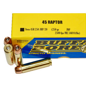 Buffalo Bore .45 Raptor Ammunition 20 Rounds JHP 250 Grains
