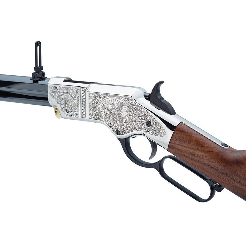 """Henry Original Silver Deluxe Engraved Edition .44-40 WCF Lever Action Rifle 24.5"""" Barrel 13 Rounds Nickel Receiver Walnut Stock and Blued Finish"""