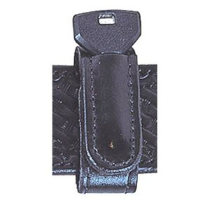 "Stallion Leather 1"" Wide Belt Keeper with Spare Key Slot Leather Black BKKS-1-B4"