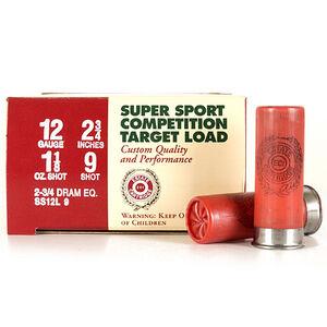 "Ammo 12 Gauge Estate Cartridge Super Sport 2-3/4"" #9 Lead 1-1/8 Oz 1145 fps 250 Round Case SS12L 9"