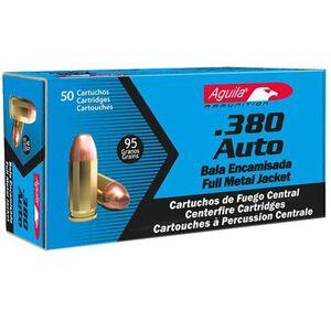 Aguila Ammunition, .380 ACP Caliber Ammunition 50 Rounds, FMJ, 95 Grains