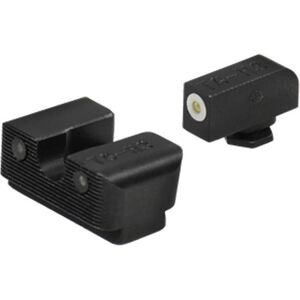 TRUGLO Tritium Pro Night Sights GLOCK 42/43 Green Sight Set with White Focus Ring Steel Black