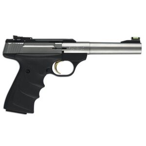 "Browning Buck Mark Stainless Camper Semi Auto Pistol .22 LR 5.5"" Tapered Bull Barrel 10 Rounds Ultragrip RX Adjustable Rear Sight Fiber Optic Front Sight Stainless Steel 051442490"