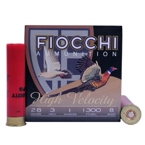 "Fiocchi 28 Gauge Ammunition 25 Rounds 3.00"" #8 Lead 1.00 oz."