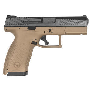 "CZ P-10 C Compact 9mm Luger Semi Auto Pistol 4.02"" Barrel 10 Rounds Night Sights Black Slide/Flat Dark Earth Frame"
