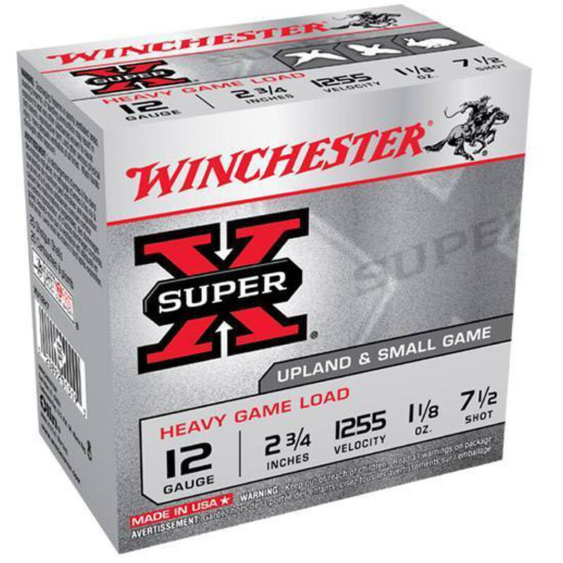 "Winchester Super X Heavy Game 12 Gauge Ammunition 25 Rounds 2.75"" #7.5 Lead 1.125 Ounce XU12H7"