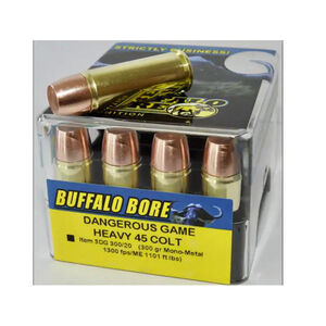 Buffalo Bore Dangerous Game Heavy .45 Colt +P Ammunition 20 Rounds Mon-Metal WFN 300 Grain 3DG 300/20