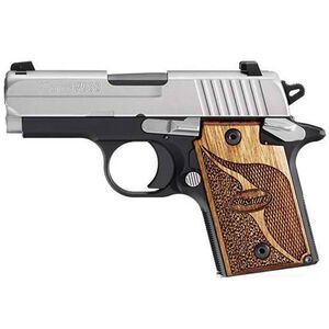 "SIG Sauer P938 SAS Micro-Compact 9mm Luger Semi Auto Pistol 3"" Barrel 7 Rounds SIGLITE Night Sites Wood Grips Two Tone Nitron/Black Finish"