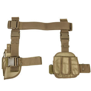 NcSTAR Drop Leg Holster and Triple Magazine Pouch Most Full Sized and Compact Pistols Right Hand PVC Tan