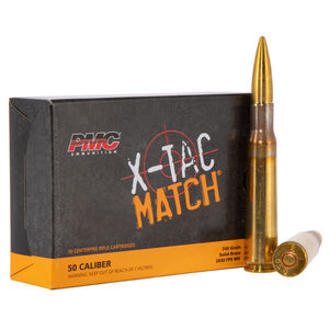 PMC X-Tac Match .50 BMG Ammunition 10 Rounds 740 Grain Solid Brass Projectile 2830fps
