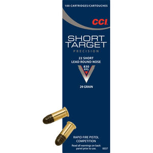CCI Target .22 Short Ammunition 100 Rounds Lead Round Nose 29 Grains 0037