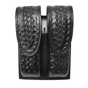 Gould & Goodrich Double Magazine Case Leather H&K 2000SK Style Hidden Snap Basket Weave Black Finish B629-3W