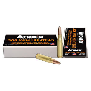 Atomic Hunting .308 Winchester Ammunition 20 Rounds 260 Grain Round Nose Soft Point Boat Tail Projectile 2100fps