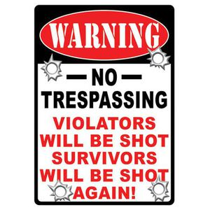 """River's Edge Products """"No Trespassing"""" Sign Steel Large 12 x 17 Inches 1525"""