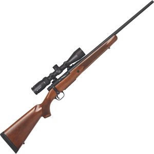 "Mossberg Patriot Walnut Vortex Scoped Combo 7mm-08 Rem Bolt Action Rifle 22"" Fluted Barrel 5 Rounds with Vortex Crossfire II 3-9x40mm Scope Walnut Stock Matte Blued Finish"