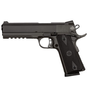 """Rock Island Armory Tac Series Full Size 1911 Semi Auto Pistol .45 ACP 5"""" Barrel 8 Rounds Dovetail Front Sight/Fixed Snag Free Rear Sights Rubber Grips Parkerized Matte Black"""