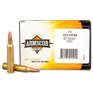 Armscor USA .223 Remington Ammunition 20 Rounds PSP 62 Grains F AC 223-4N