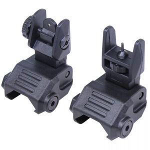 Guntec AR-15 EZ Sights Thin Profile Polymer Back Up Iron Sight Set Polymer and Steel Black