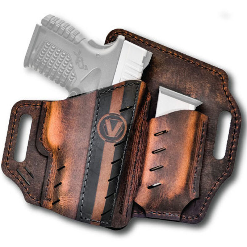 Versacarry Underground Premium Guardian Formula 1 Holster with Magazine Pouch GLOCK 42/43 Springfield XDS and Similar Sub Compacts OWB Right Hand Water Buffalo Leather Distressed Brown and Black