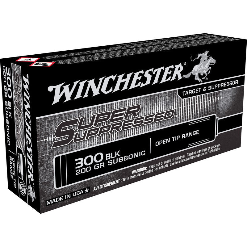 Winchester Super Suppressed  300 AAC Blackout Subsonic Ammunition 20 Rounds  200 Grain Open Tip Range Bullet 1060fps