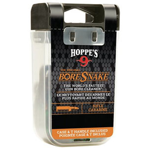 Hoppe's No. 9 Boresnake Snake Den 7.62mm/.30/.308 Caliber Rifle Length Pull Thru Bore Cleaning Rope with Bronze Brush and Carry Case with Pull Handle Lid