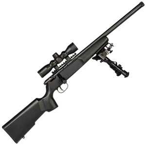 "Savage Rascal Target XP Bolt Action Rimfire Rifle .22 LR 16.125"" Threaded Barrel 1 Round 4x32 Scope and Bipod Black Wood Stock Blued"